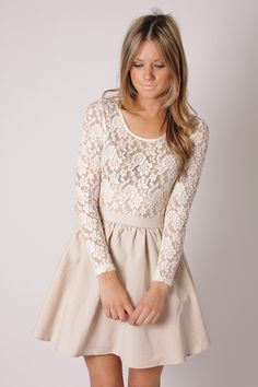 Ruby Mai Long Sleeve Lace Dress - cream $79