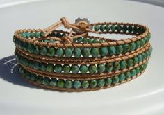 Turquoise Beaded Leather Wrap Bracelet Flower by tinacdesigns, $30.00