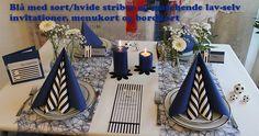 blå borddækning med sort og hvid Napkin Folding, Table Decorations, Inspiration, Home Decor, Biblical Inspiration, Decoration Home, Room Decor, Folding Napkins, Home Interior Design