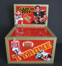 Gloss and Glitter. So glossy you can see the photos reflected in the top of the box. This gift card box was a combination of football and graduation Class of 2014 with lots of fun photos. #graduationgiftcardbox