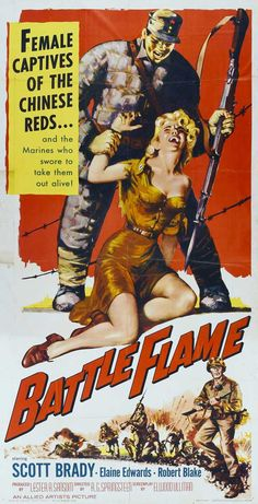 BATTLE FLAME (1959) - Scott Brady - Elaine Edwards - Robert Blake - Directed by R. g. Springsteen - Allied Artists - Insert Movie Poster.