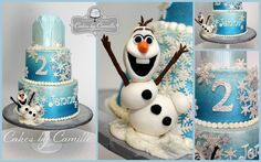 Disney Frozen Cake with fondant Olaf, Cakes by Camille, LLC