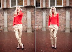 Topshop Brocade Trousers, Red Knit Sweater, Black pumps- Love this outfit so much