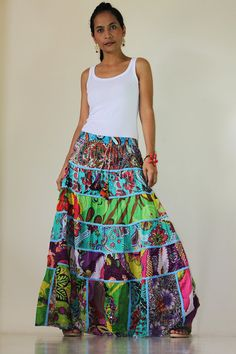 Long Patchwork Maxi skirt  Boho Patchwork Skirt by Nuichan on Etsy, $52.00