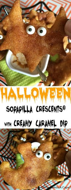 Need a fun snack for Halloween parties? Make these simple Halloween Sopapilla Crescents® with Creamy Caramel Dip! Loads of fun for the kids to help prepare. #ad #WarmTraditions