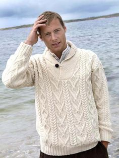 """Shawl Collar Man's Irish Aran Sweater. Made from 100% Soft Merino Wool. Ref: SH 4177.   This man's shawl collar cable knit sweater is knit using traditional Aran knitting patterns from Ireland.  The """"V"""" neck shawl collar is the main feature of this Irish sweater.  I have worn Irish Aran sweaters for years, I am a woman and tall and I wear this actual sweater with my jeans, smashing!"""