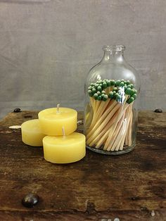 Apothecary Matchstick Bottle: This reclaimed apothecary bottle ($23)is filled with cute matchsticks and even has a scoured bottom, which you can strike your matches against.