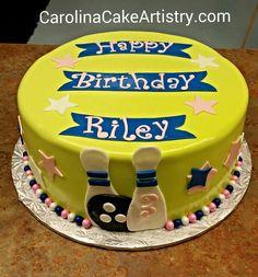 Cute girly bowling birthday cake!