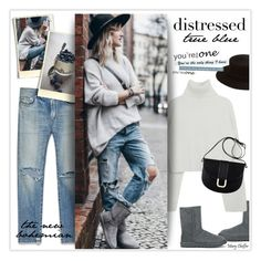 """""""True Blue: Distressed Denim"""" by mcheffer ❤ liked on Polyvore featuring Yves Saint Laurent, UGG Australia, UGG, Janessa Leone, A.P.C. and distresseddenim"""