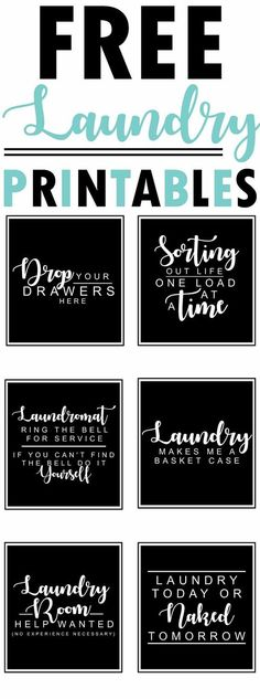 6 free farmhouse-style black and white laundry room printables with funny quotes and sayings - collection by craft-mart room art Free Farmhouse Printables Fixer-Upper Style Laundry Room Organization, Laundry Room Design, Laundry In Bathroom, Small Laundry, Laundry Closet, Laundry Decor, Bathroom Signs, Laundry Room Sayings, Signs For Laundry Room