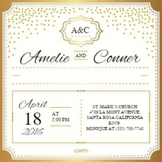 """Gold Elegant""  printable invitation template. Customize, add text and photos. Print or download for free!"