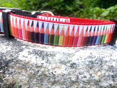 Colored Pencils 1 Inch Width Dog Collar by WillyWoofs on Etsy, $16.00