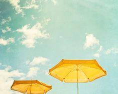 Beach Umbrella Print  turquoise yellow mint von CarolynCochrane, $30.00