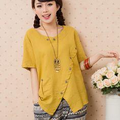 Kimono blusas femininas verano mujer casual algodón camisa de lino button blusas tallas grandes tops femeninos floja estilo nacional WJ193 en Blusas y Camisas de Moda y Complementos Mujer en AliExpress.com | Alibaba Group