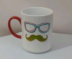 Food Network Handlebar Mustache Ceramic Coffee Mug Tea Cup Beverage Moustache