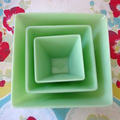 Jade green milk glass nesting bowls. Made by Gibson Crystal Glass Co. On Esty.com