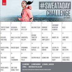 Get ready for your September #SweatADay with @Shauna (LilDuckieArts) harrison @Joann Matthews Armour! Download your calendar today to get ready for your #SweatADay challenges!   Follow @shauna_harrison on Instagram for details on the September #SweatADay challenge. Let's go! #IWILL — with Under Armour Women and Under Armour.