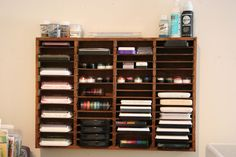 An old cassette tape holder repurposed to organize ink pads