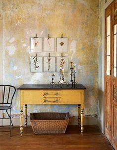 Wall & console.  Natural Decor: A Texas Farmhouse