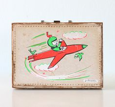Vintage Space Suitcase  Boy on a Rocketship by Neevel by bellalulu on Etsy.