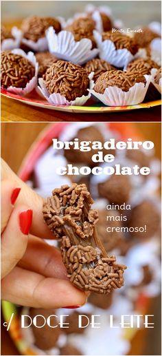 Brigadeiro com doce de leite, é o brigadeiro de chocolate tradicional só que o leite condensado é cozido antes na pressão até o ponto de doce de leite.