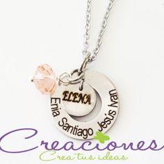 Cadena de acero inoxidable y dijes con nombres grabados - Accesorios Personalizados- Creaciones www.creaciones.mx, info@creaciones.mx, (662)2105599