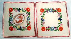 Hungarian Kalocsa  Embroidered pair of Doilies by FaberGreaves
