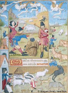 Book of Hours, MS M.1001 fol. 48r - France, Poitiers, ca. 1475 - Shepherds: Annunciation