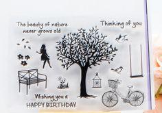 DECORA 1PCS Happy Birthday Girl Tree Design Silicone Transparent Clear Stamp DIY Scrapbooking Christmas Decoration Supplies
