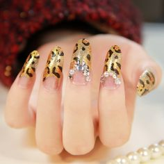 New 2013 japanese sexy leopard french manicure full cover long design false nails free shipping  10 $10.90