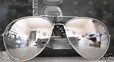 12-Pairs-Aviator-Sunglasses-Large-Reflective-Silver-Mirror-Lenses-Silver-Frame