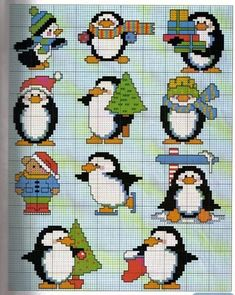 Cross-stitch Penguins... no color chart available, just use pattern chart as your color guide.. or choose your own colors... Solo Patrones Punto Cruz (pág. 263) | Aprender manualidades es facilisimo.com