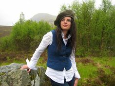 Women's tweed and velvet waistcoat and beret. Designed and handmade in Scottish Highlands.  Inspired by times past