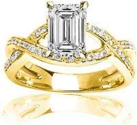 2.75 Ctw 14K Yellow Gold Intertwining Twisting Split Shank Designer Emerald Cut GIA Certified Diamond Engagement Ring