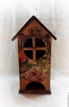 Купить Чайный домик с птичкой - кремовый, чайный домик, чайный домик декупаж, домик для чайных