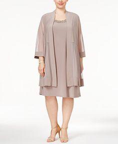 R & M Richards Plus Size Shift Dress and Jacket - Dresses - Plus Sizes - Macy's