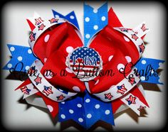 Patriotic Red White and Blue Boutique hair bow