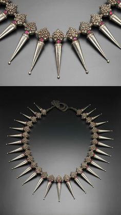 South India | Large ceremonial necklace; silver with ruby cabochons and cotton | Tamil Nadu, 19th century