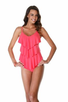 cc1e47f700ce1 Magicsuit By Miraclesuit Ruffle Rita Triple Tier Tankini. This swimwear top  is solid nectarine orange