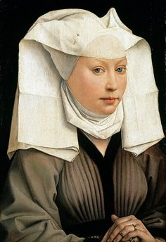 Rogier van der Weyden Netherlandish Northern Renaissance Artist, Portrait of a Woman with a Winged Bonnet Renaissance Kunst, Renaissance Portraits, Medieval Clothing, Medieval Art, Medieval Fashion, Robert Campin, Städel Museum, Google Art Project, 15th Century