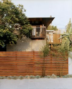 The fence around the house in Venice, California that architect David Hertz designed for himself and his family is made from sustainably ...