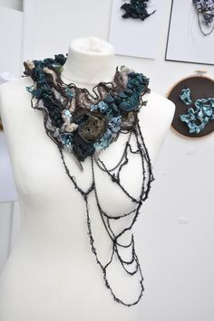 End of year show - Schmuck - # Textile Jewelry, Fabric Jewelry, Jewellery, Love Fashion, Fashion Art, Fashion Design, Textile Design, Textile Art, A Level Textiles