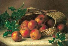 Cesta entornada com maçãs e ramos de azevinho Eloise Harriet Stannard (Inglaterra, 1829-1915) óleo sobre tela, 28 x 40 cm