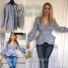 DIY upcycle sewing tutorial on how I made the SJP top designed by Johanna Ortiz from an old man shirt. refashion the shirt into an amazing top