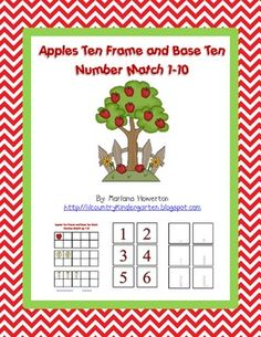 Apples Ten Frame and Base Ten Number Match 1-10 - $1