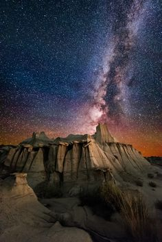 Valley of Dreams landscape at night, New Mexico Badlands, New Mexico, USA.