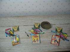 miniature dollhouse 1/12th scale real crayons by TheDollyCottage