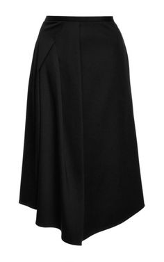 This **Tibi** skirt features a high waist, a knee length pencil skirt silhouette and draped pleating at the side that cascades to an asymmetric hem.