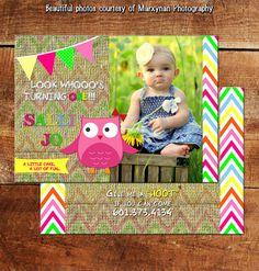 Little Owl Photo Birthday Card / Little Kiddo Happy Birthday Card / DM2964