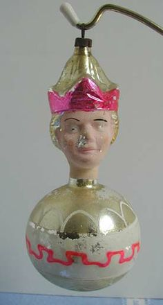 German Mold Blown Prince on Ball Glass Christmas Ornament.